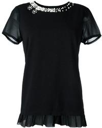 Camiseta con Adornos Negra de Twin-Set