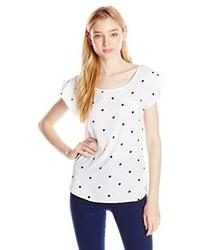 Camiseta con cuello circular a lunares en blanco y azul marino