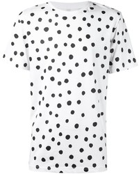 Camiseta con cuello circular a lunares en blanco y negro