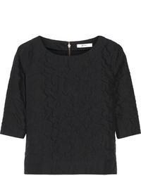 Camiseta con cuello circular acolchada negra