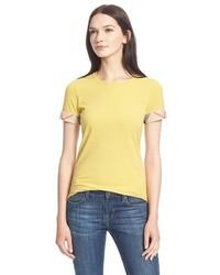 Camiseta con cuello circular amarilla de Burberry