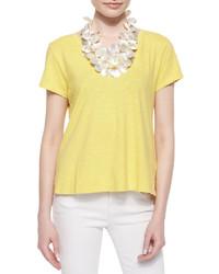 Camiseta con cuello circular amarilla de Eileen Fisher