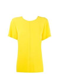 Camiseta con cuello circular amarilla de Proenza Schouler