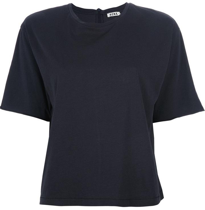 Camiseta con cuello circular azul marino de Acne Studios