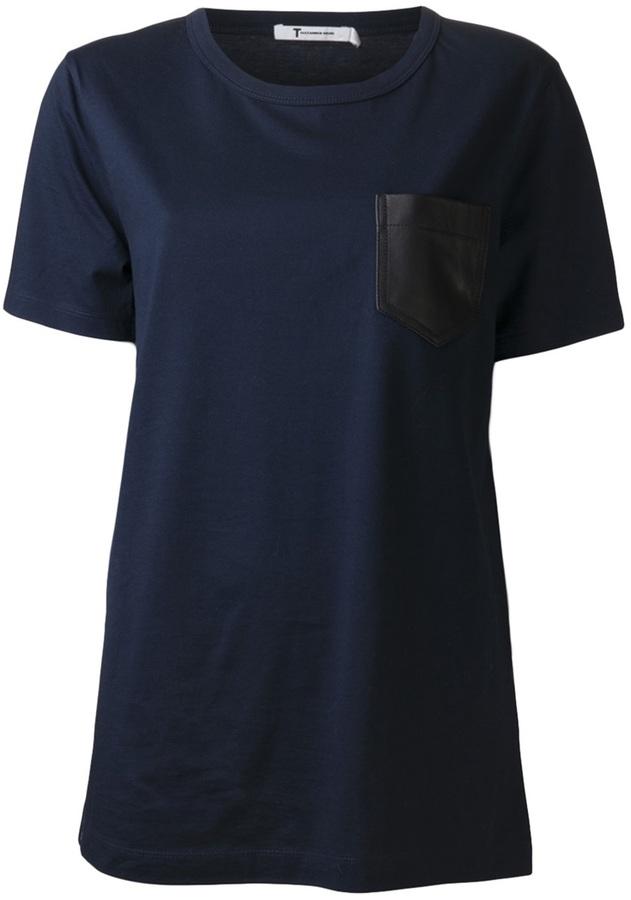 Camiseta con cuello circular azul marino de Alexander Wang