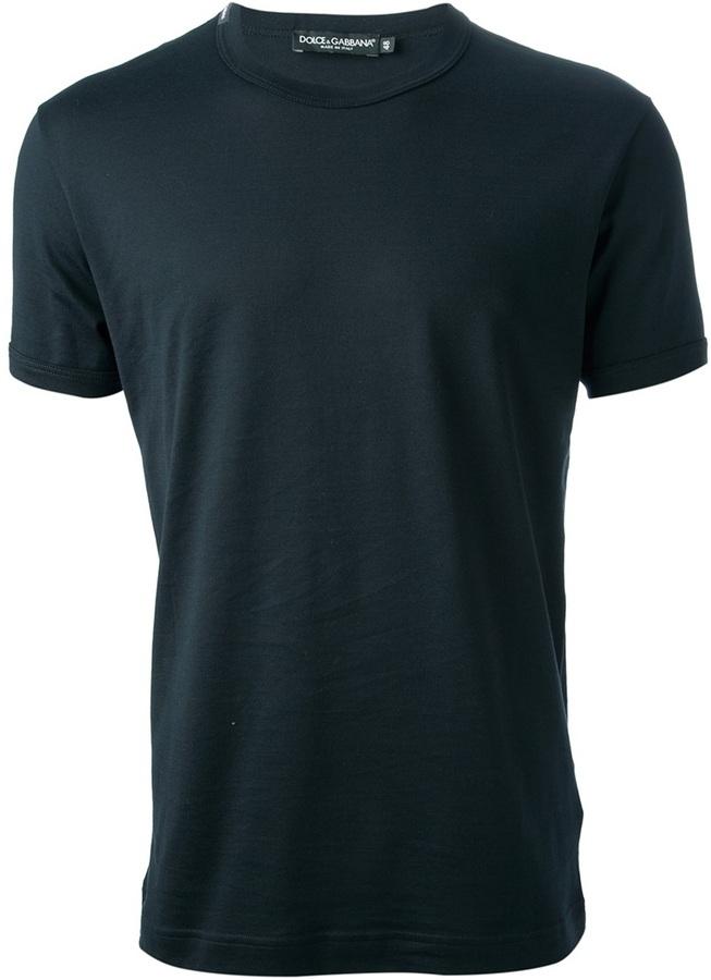 Camiseta con cuello circular azul marino de Dolce & Gabbana