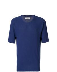 Camiseta con cuello circular azul marino de Laneus