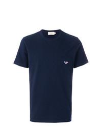 Camiseta con cuello circular azul marino de MAISON KITSUNÉ