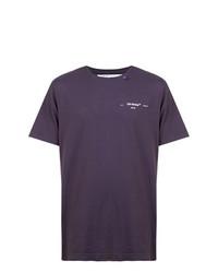 Camiseta con cuello circular azul marino de Off-White