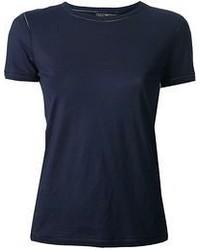 Camiseta con cuello circular azul marino de Salvatore Ferragamo