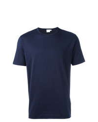 Camiseta con cuello circular azul marino de Sunspel
