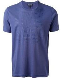 Camiseta con cuello circular azul