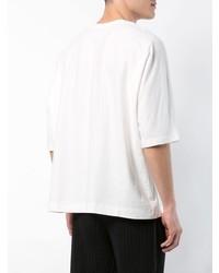 Camiseta con cuello circular blanca de Homme Plissé Issey Miyake
