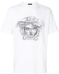 Camiseta con cuello circular blanca de Versace