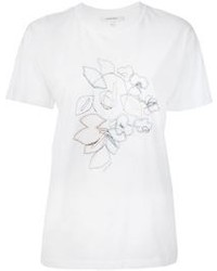 Camiseta con cuello circular bordada blanca
