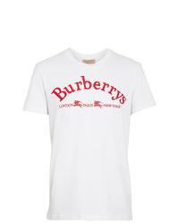 Camiseta con cuello circular bordada blanca de Burberry