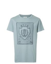 Camiseta con cuello circular bordada celeste de Kent & Curwen