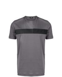 Camiseta con cuello circular bordada gris de Fendi
