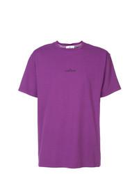 Camiseta con cuello circular bordada morado de Stone Island