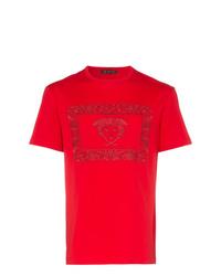 Camiseta con cuello circular bordada roja de Versace