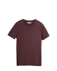 Camiseta con cuello circular burdeos de Burberry