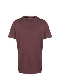 Camiseta con cuello circular burdeos de Diesel