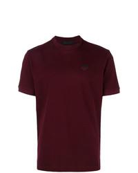 Camiseta con cuello circular burdeos de Prada