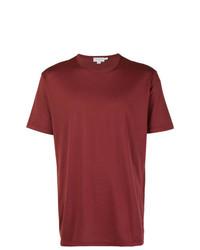 Camiseta con cuello circular burdeos de Sunspel