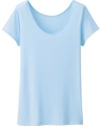 Camiseta con cuello circular celeste