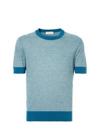 Camiseta con cuello circular celeste de Cerruti 1881