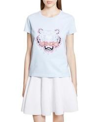Camiseta con cuello circular celeste de Kenzo
