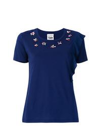 Camiseta con cuello circular con adornos azul marino de Twin-Set