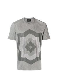Camiseta con cuello circular con adornos gris de John Richmond