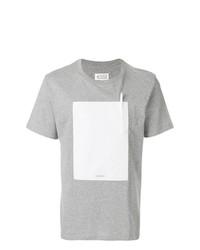 Camiseta con cuello circular con adornos gris de Maison Margiela