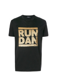 Camiseta con cuello circular con adornos negra de DSQUARED2