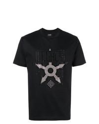 Camiseta con cuello circular con adornos negra de Les Hommes