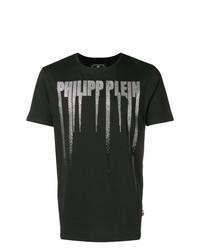 Camiseta con cuello circular con adornos negra de Philipp Plein