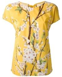 Camiseta con cuello circular con print de flores amarilla