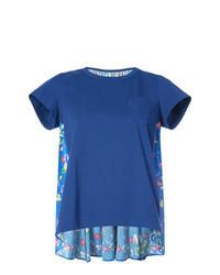 Camiseta con cuello circular con print de flores azul