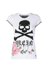 Camiseta con cuello circular con print de flores blanca de Philipp Plein