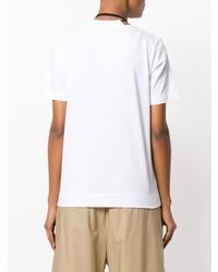Camiseta con cuello circular con print de flores en blanco y negro de Marni
