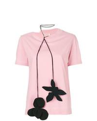 Camiseta con cuello circular con print de flores rosada de Marni