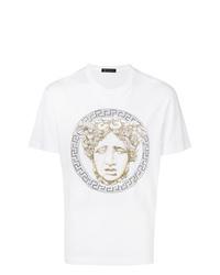 Camiseta con cuello circular con tachuelas blanca de Versace