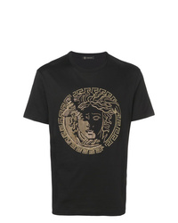Camiseta con cuello circular con tachuelas negra de Versace