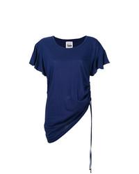 Camiseta con cuello circular con volante azul marino de Twin-Set