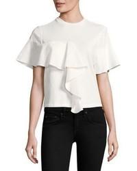 Camiseta con cuello circular con volante blanca