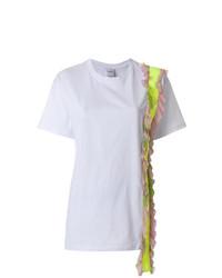 Camiseta con cuello circular con volante blanca de Brognano