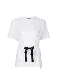 Camiseta con cuello circular con volante blanca de Proenza Schouler