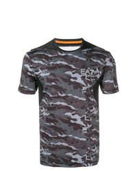Camiseta con cuello circular de camuflaje gris de Ea7 Emporio Armani