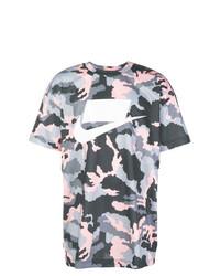 Camiseta con cuello circular de camuflaje gris de Nike
